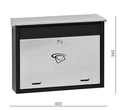 Poštovní schránka nerez - černá 400x340x100