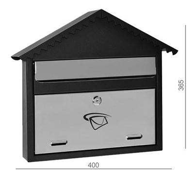 Poštovní schránka nerez - černá 400x365x75