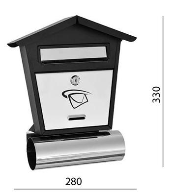 Poštovní schránka nerez - černá 280x330x75