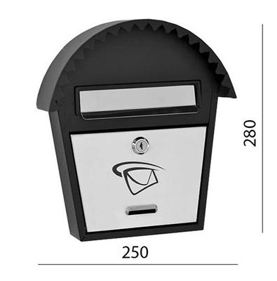 Poštovní schránka nerez - černá 250x280x50